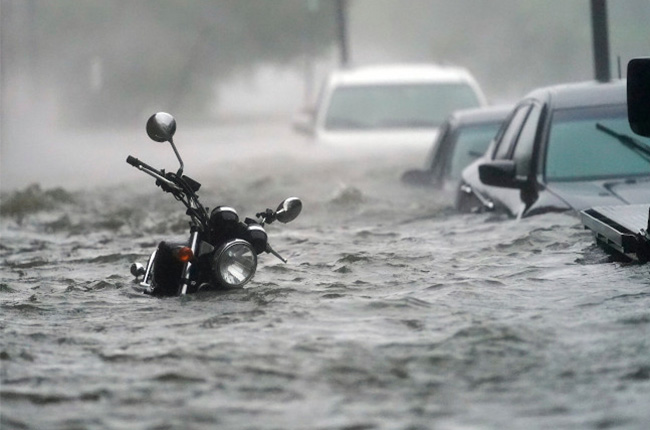 Flooded motorcycle