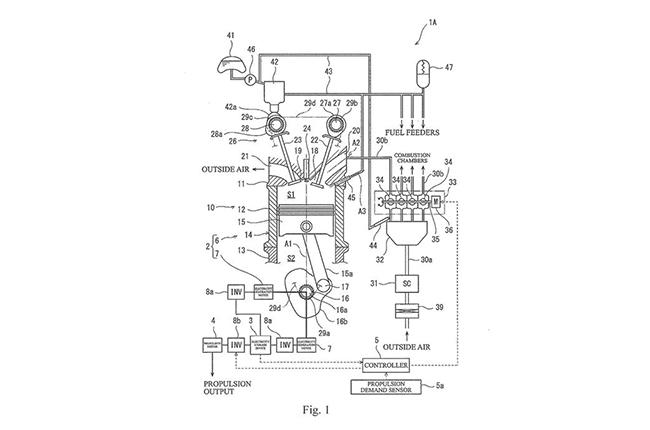 Kawasaki Supercharged 2-stroke hybrid engine patent