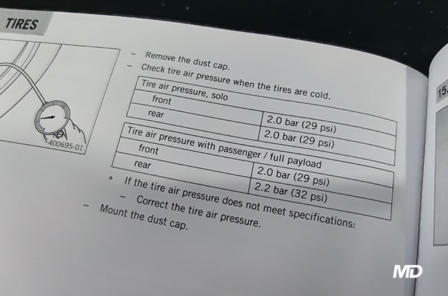 KTM 390 Duke Front and Rear Tire Pressure