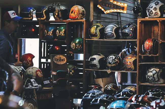 Motorcycle helmets in a store