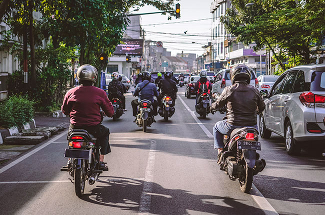 Motorcycles in traffic