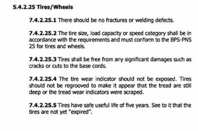MVIS guidelines on tires