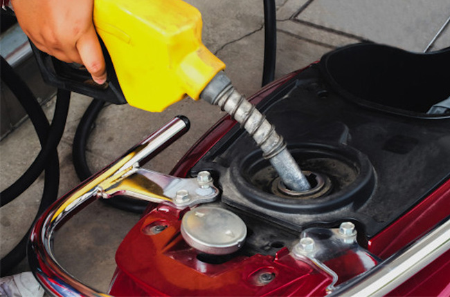 refueling a motorcycle