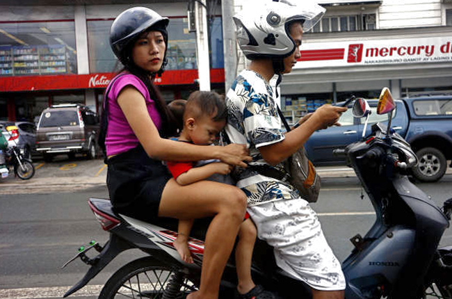 Riding with a child on a motorcycle