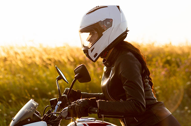 Woman riding a motorcycle
