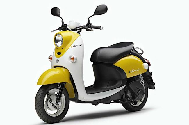 Yamaha e-Vino Japan yellow front quarter