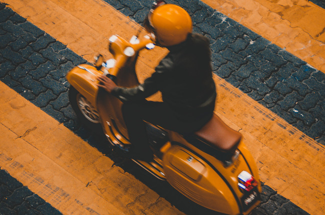Yellow Vespa Commute