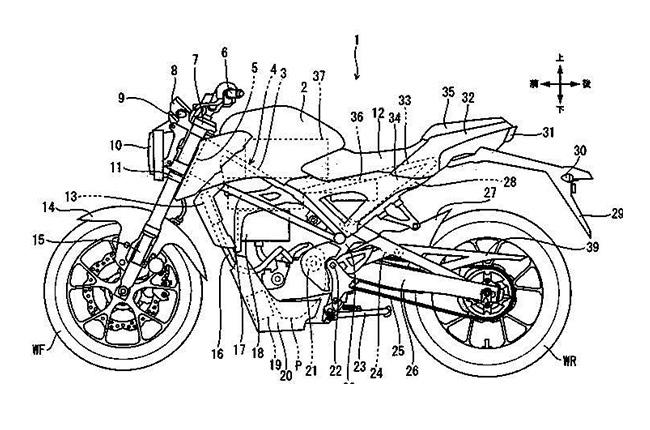 Honda CB125R electric motorcycle patent