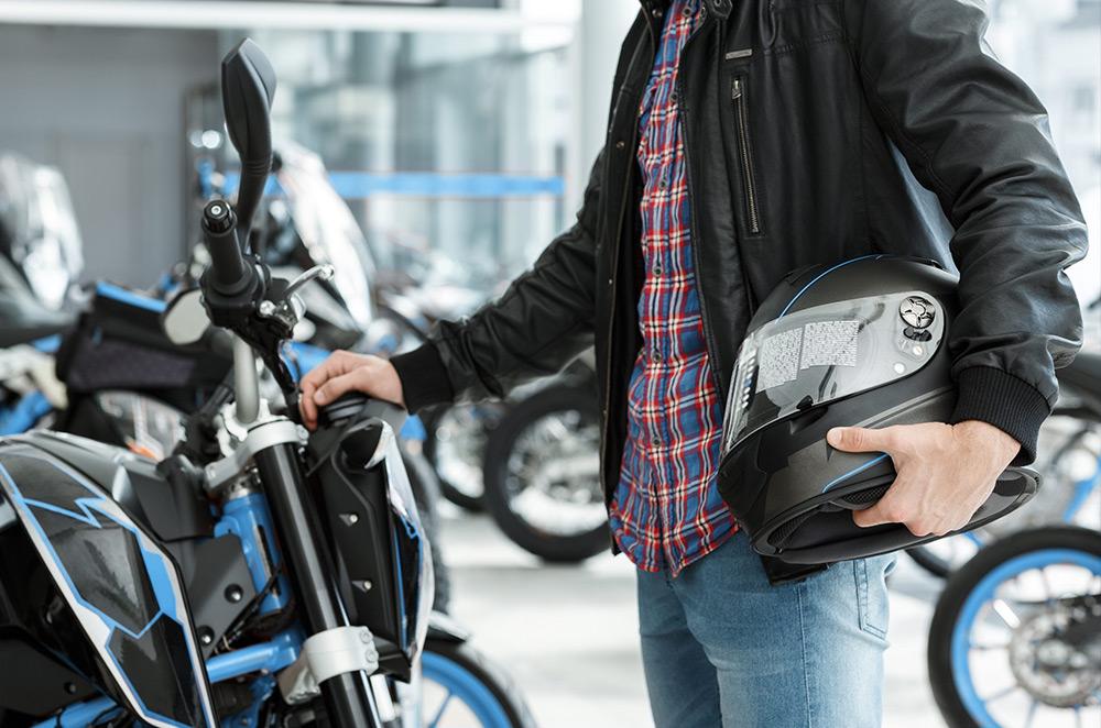 Man choosing motorcycle