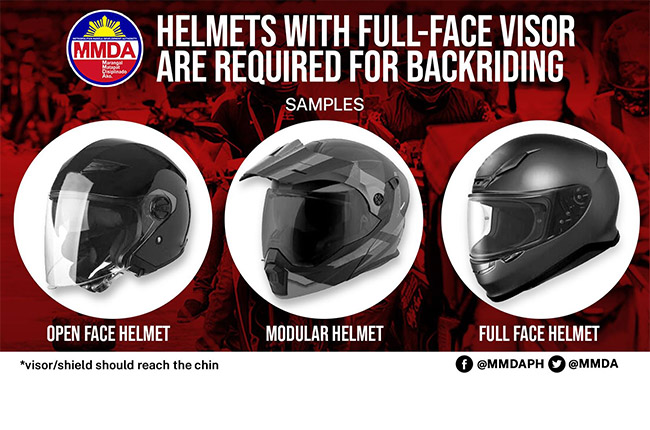 MMDA Helmet Requirment for Backriding