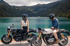 Couple ridinga motorcycle