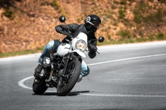 Rider cornering on a motorcycle